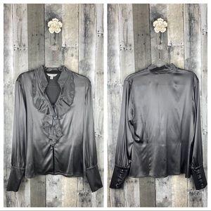 St. John Grey 100% Silk Ruffle Neck Blouse Size 10